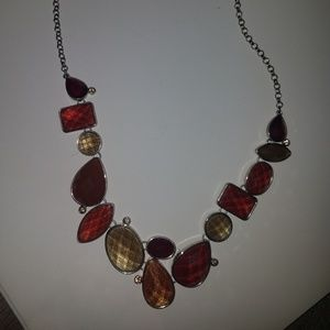 Multiple stone fall color necklace